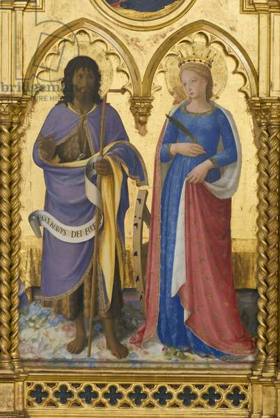 St. John the Baptist and St. Catherine, detail of Madonna with Child, Angels and Saints, Guidalotti Polyptych, c.1447 (tempera & oil on board)