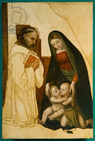 Madonna and Child Jesus, Saint Giovannino and Benedictine saint, c.1500-1550 (oil on board)