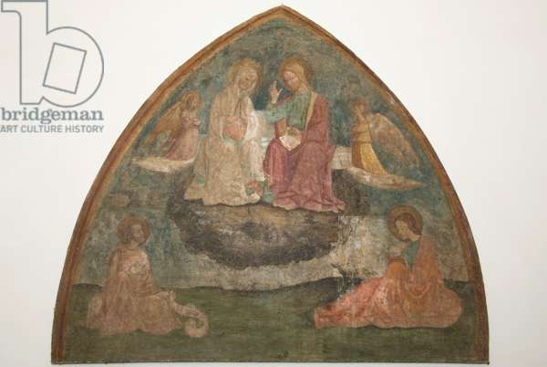 Assumption of the Virgin between two angels with the evangelists Luke and John, c.1440-1550 (staccato fresco)