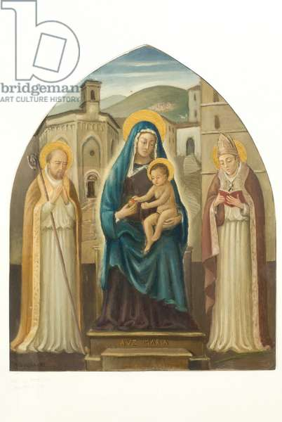 Madonna with Child Jesus Enthroned, St. Herculaneum and San Lorenzo, c.1940-50 (tempera on cardboard)