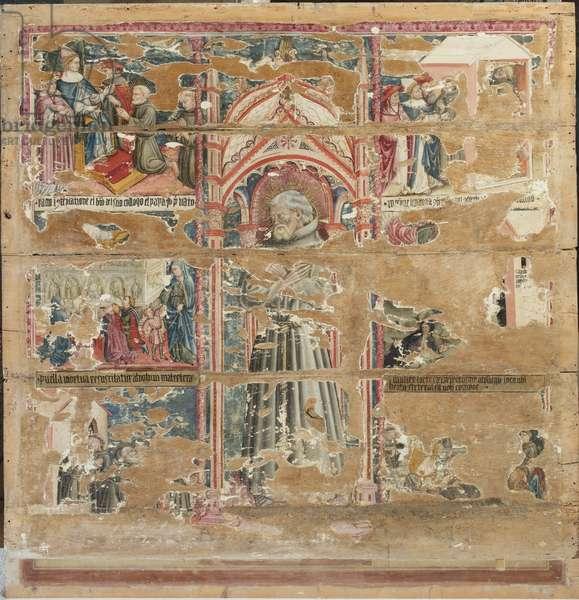 Blessed Aegidius; Colloquius with Gregory IX; Resurrection of the Maiden of Monte San Savino; Visit of St. Louis King of France; Ecstasy of the Blessed Aegidius; Miracle of Milk; Transit, c.1439-1440 (tempera on table)
