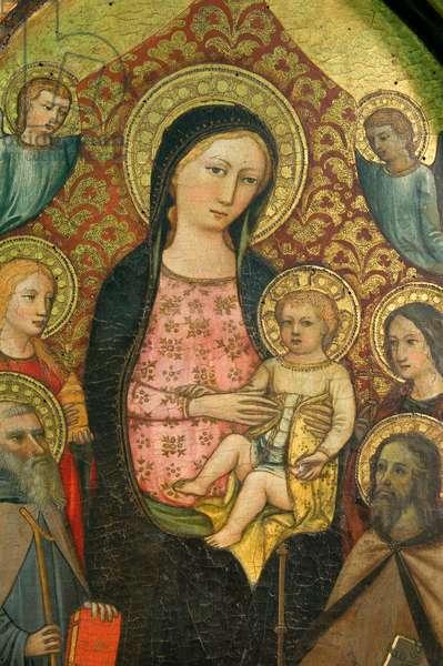 Madonna and Child Jesus enthroned, San'Antonio Abbot, Saint Mary Magdalene, Saint James the Apostle, Saint Helena and angels, c.1400-1420 (tempera on panel)