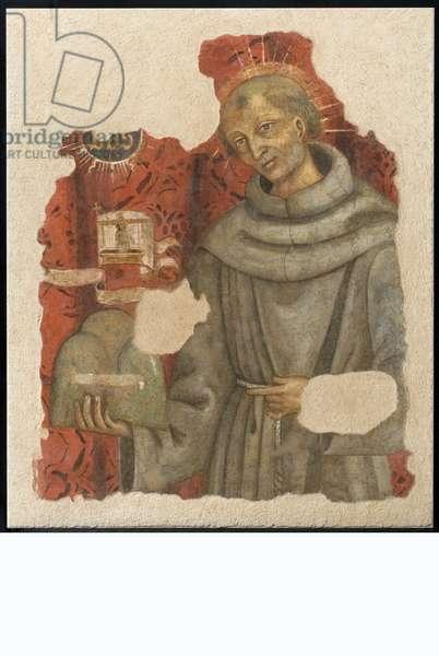 San Bernardino da Feltre with Calvary, the banner with Vir Dolorum and the Bernardinian trigram, c.1450-1499 (torn fresco)