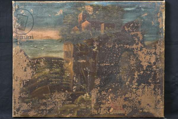 Landscape with St. Jerome (Canvas, Oil painting)