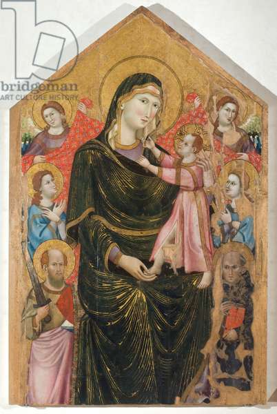 Madonna and Child, Saints Paul and Peter Celestine and Four Angels, c.1310-1315 (tempera on table)