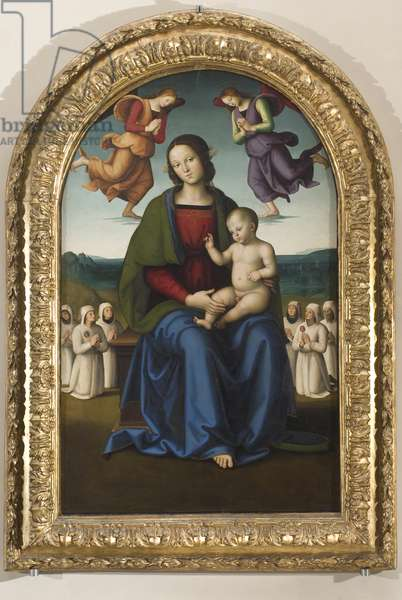 Madonna and Child, Our Lady of Consolation with six confrati and two adoring angels, after 1496 (oil and tempera on board)
