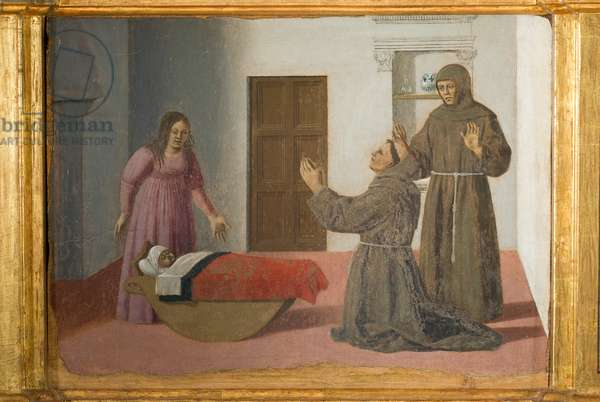 St Anthony of Padua and the miracle of the newborn, predella of Polyptych of Perugia or Polyptych of Saint Anthony, 1468-70 (oil on board)