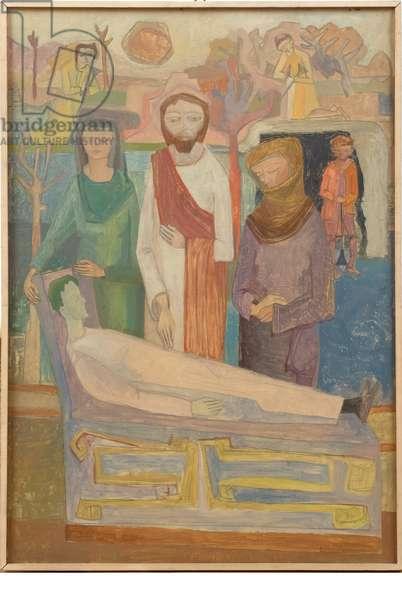 Resurrection of Nain's widow's son, c.1940-1960 (oil on faesite)