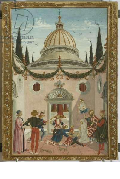 San Bernardino healing John Anthony of Parma wounded by a shovel, 1473 (tempera on board)
