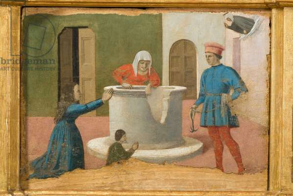 Saint Elizabeth of Hungary resurrects a child who fell into a well, predella of the Polyptych of Perugia or Polyptych of Saint Anthony, 1468-70 (oil on board)