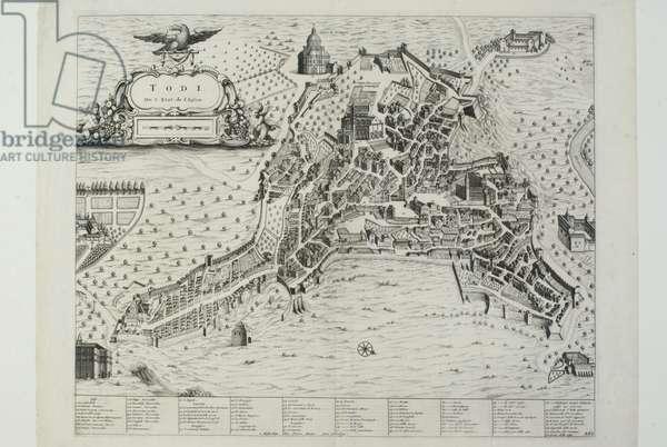 City map of Todi, 1720 (etching)