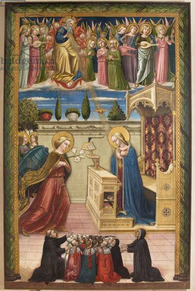 God the Father, Angels; Annunciation between Blessed Filippo Benizi and Giuliana Falconieri and a group of devotees, 1466 (tempera on canvas)