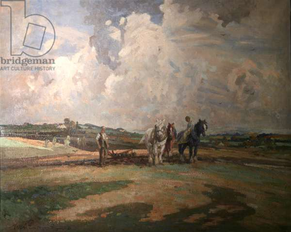 Ploughing, 1926 (oil on canvas)