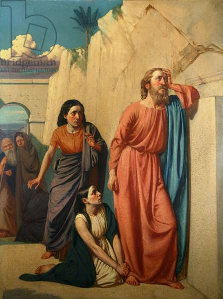 Jesus and Martha at the sepulchre of Lazarus (oil on canvas)
