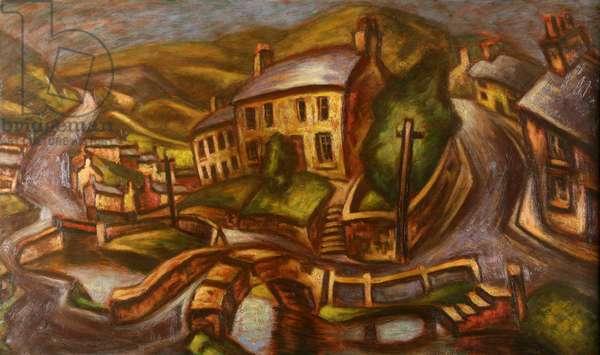 Welsh Village (oil on board)