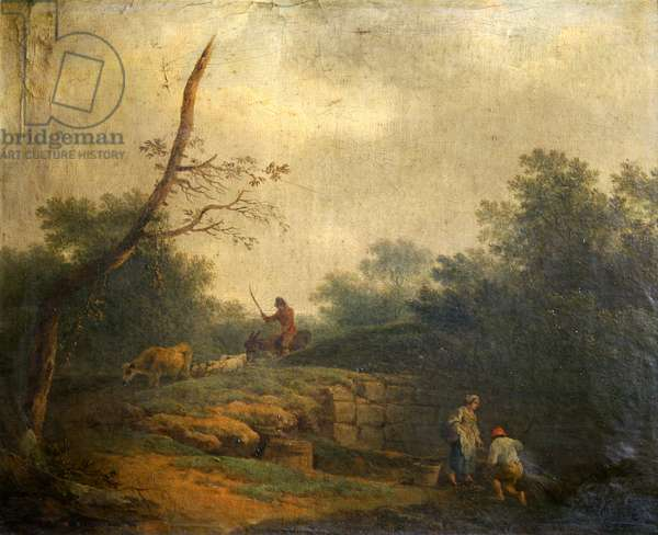 Landscape with figures (oil on canvas)