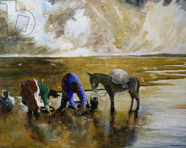 Cockle pickers (acrylic on board)