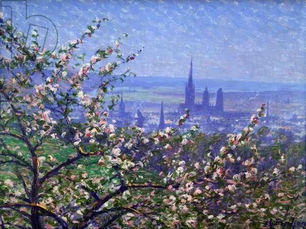 View of Rouen through an apple tree (oil on canvas)