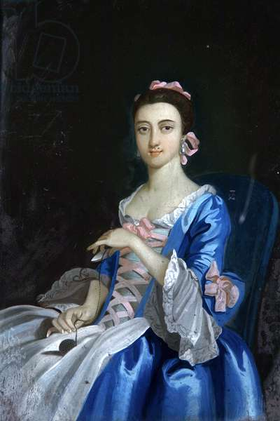 Lady in Blue Dress (oil on glass)