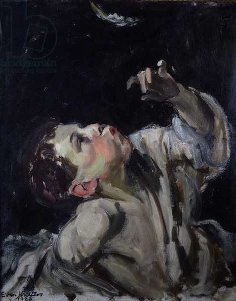 Boy with Feather, 1925 (oil on canvas)
