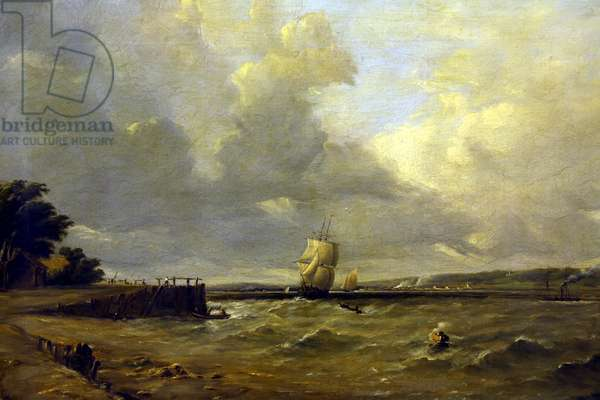Shipping in the Channel (oil on canvas)