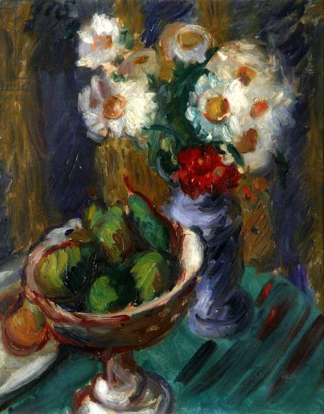 Marguerites and Pears (oil on canvas)
