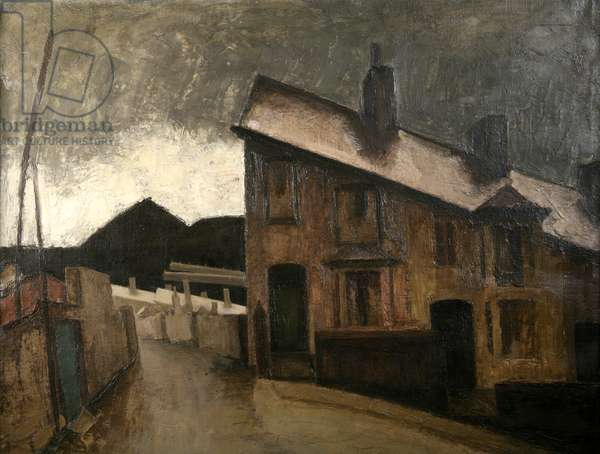 Wet Roofs (oil on canvas)