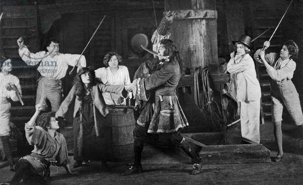 Scene from Peter Pan by JM Barrie with Captain Hook and duel