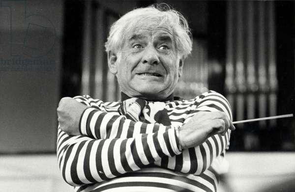 Leonard Bernstein conducting with