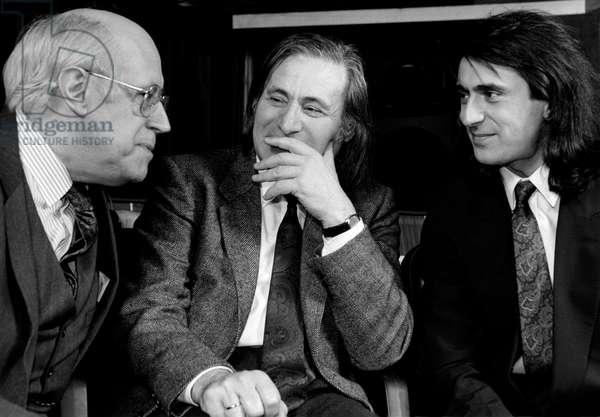 Mistislav (Mstislav) Rostropovich, Alfred Schnittke and Yuri Bashmet in London, 1990