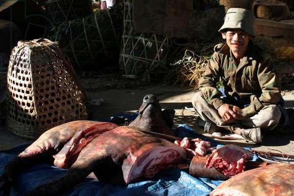 Bhutan - Meat seller