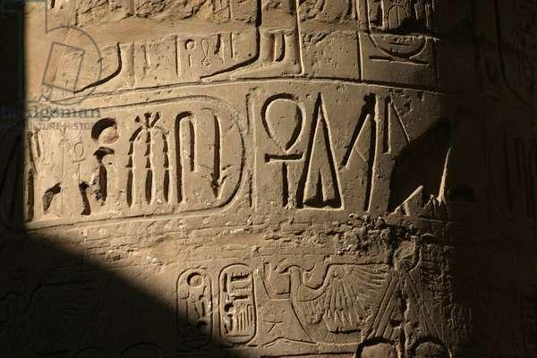 Hieroglyphs at Karnak Temple, Egypt