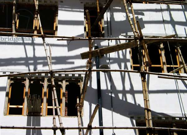 Bamboo scaffolding in Thimphu, Bhutan