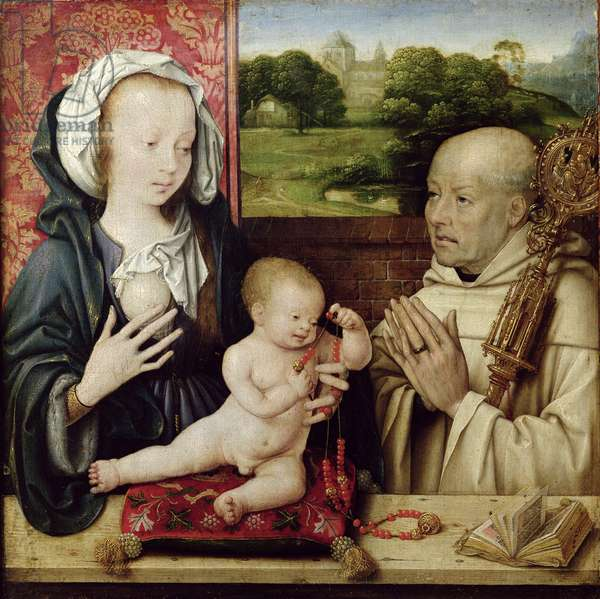 The Virgin and Child worshipped by St.Bernard (oil on panel)