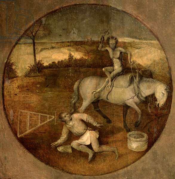 Ploughman unhorsed by a demon (oil on panel)