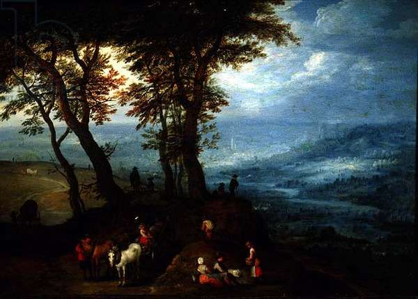 On the Way to Market, 1603 (oil on copper)