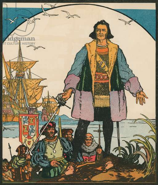 Explorers: Christopher Columbus in the New World, 1931 (woodcut print)