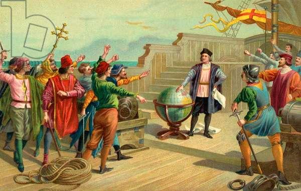 Christopher Columbus on the Santa Maria in 1492, 1904 (chromolithograph)