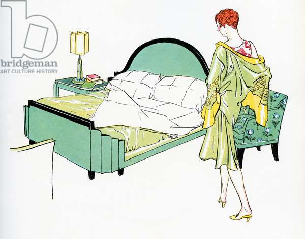 Flapper in a Silk Robe Preparing to Get Into Bed, 1929 (screenprint)