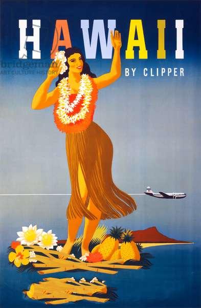 Travel Poster with Hawaiian Hula Dancer, c.1948 (colour litho)