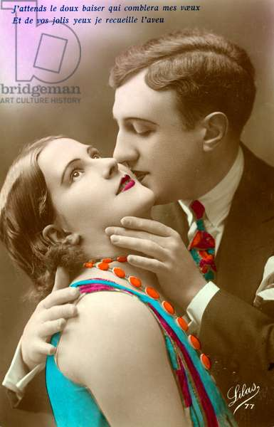 French Couple Kissing, c.1920 (hand-coloured silver print)