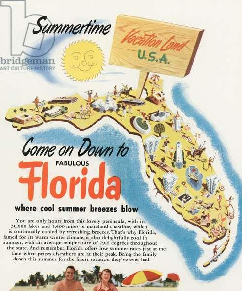 Tourist Map of Florida, 1956 (screen print)