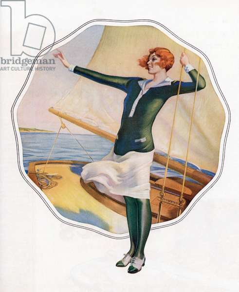 Carefree Flapper on a Sailboat, 1925 (screen print)
