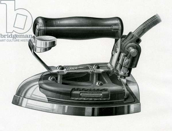 Vintage engraving of an early electric iron, c.1920 (engraving)