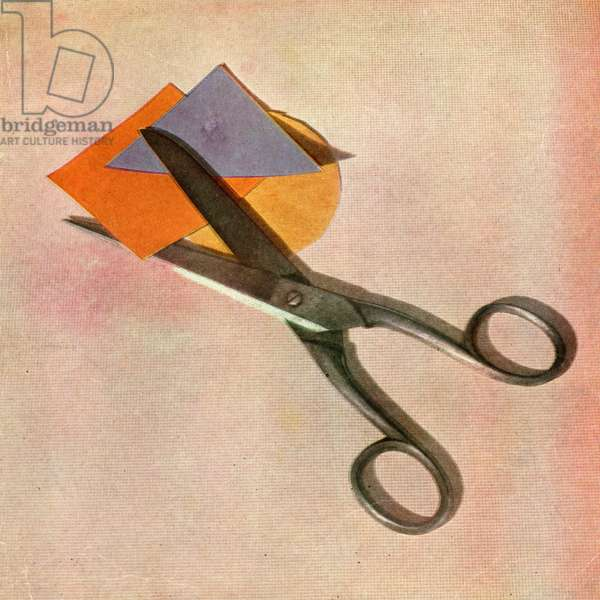 Vintage Children's Still Life - Scissors and Paper, 1947 (screen print)
