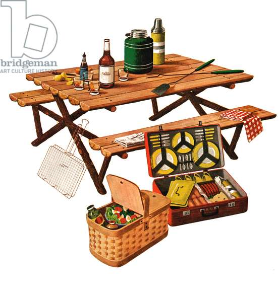 Vintage Illustration of a Picnic Table with Picnic Basket and Dish Set, 1946 (screenprint)