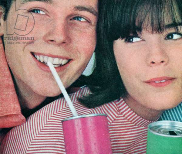 Teenage Boy and Girl Sipping From Soft Drink Cans, c.1960-64 (screenprint)