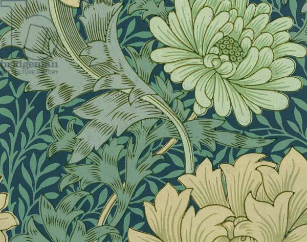 William Morris Wallpaper Sample with Chrysanthemum, 1877 (colour woodblock print)