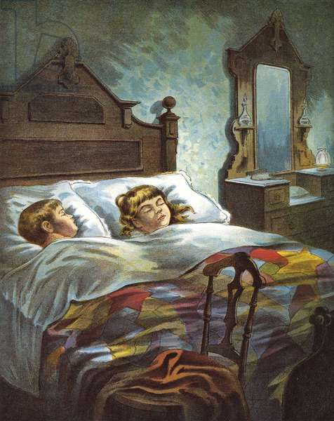 Boy and Girl are 'Snug in Their Bed' on Christmas Eve, 1918 (lithograph)