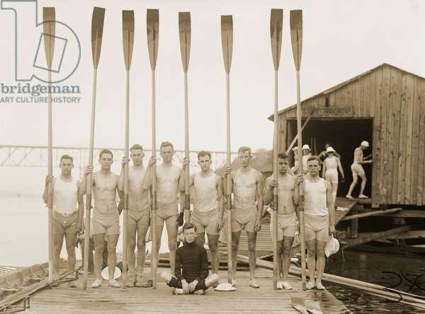 Scullers Posed with Oars on a Dock, 1914 (silver print photograph)